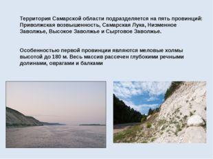 Территория Самарской областиподразделяется на пять провинций: Приволжская в