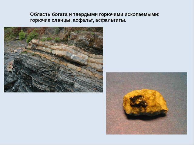 Область богата и твердыми горючими ископаемыми: горючие сланцы, асфальт, асфа...