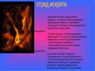 Аминов Руслан Денисович Бедрик Татьяна Александровна Бурлуцкая Ирина Сергеев