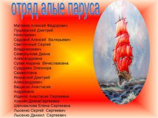 Матвеев Алексей Фёдорович Пушкарский Дмитрий Николаевич Садовой Алексей Валер