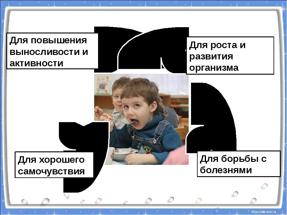 Для повышения выносливости и активности Для роста и развития организма Для б...