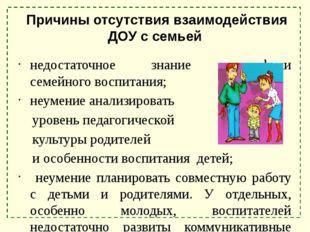 Причины отсутствия взаимодействия ДОУ с семьей недостаточное знание специфик