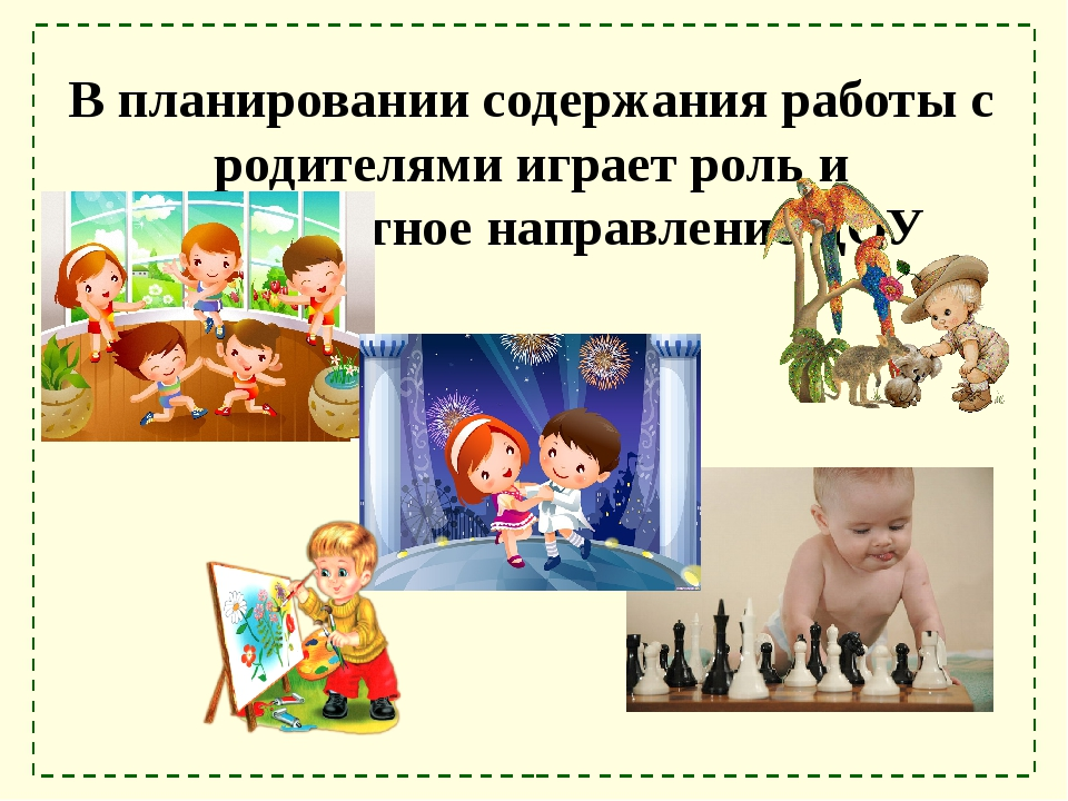 В планировании содержания работы с родителями играет роль и приоритетное напр...