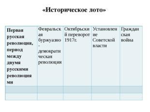 «Историческое лото» Первая русская революция, период между двумя русскими рев