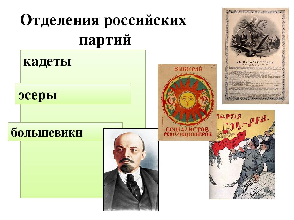 Отделения российских партий кадеты эсеры большевики