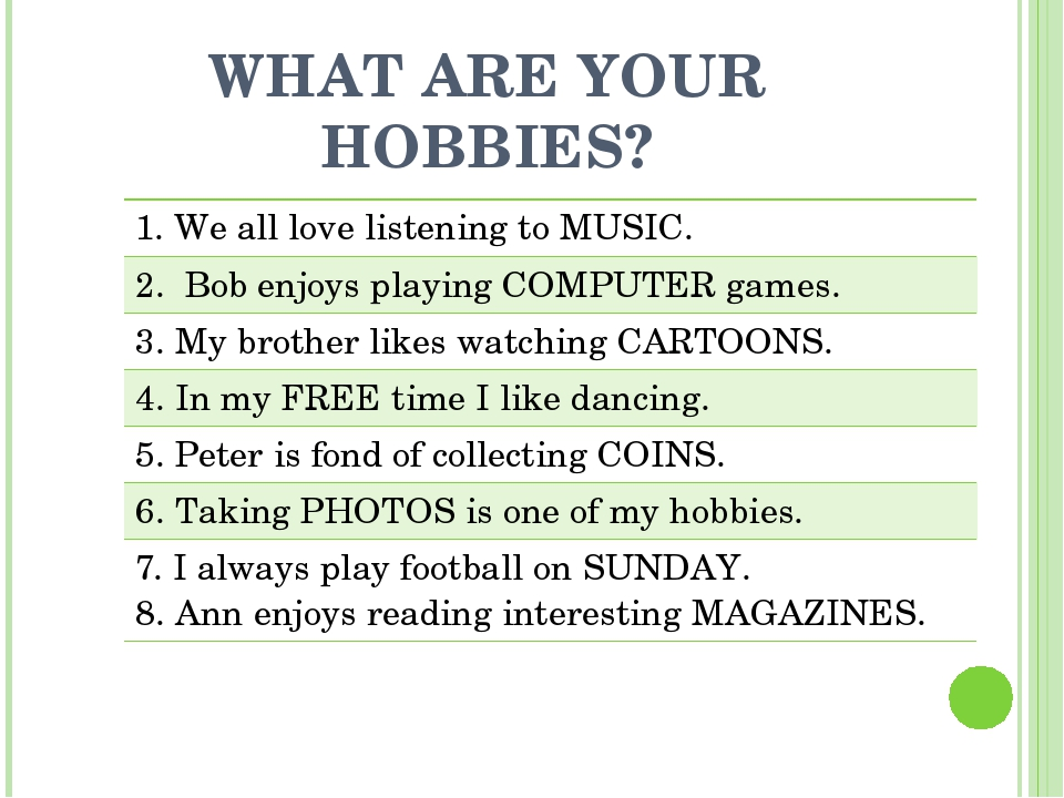 WHAT ARE YOUR HOBBIES? 1. Weall love listening to MUSIC. 2.Bob enjoys playing...