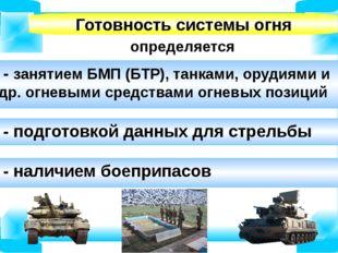 определяется Готовность системы огня - занятием БМП (БТР), танками, орудиями