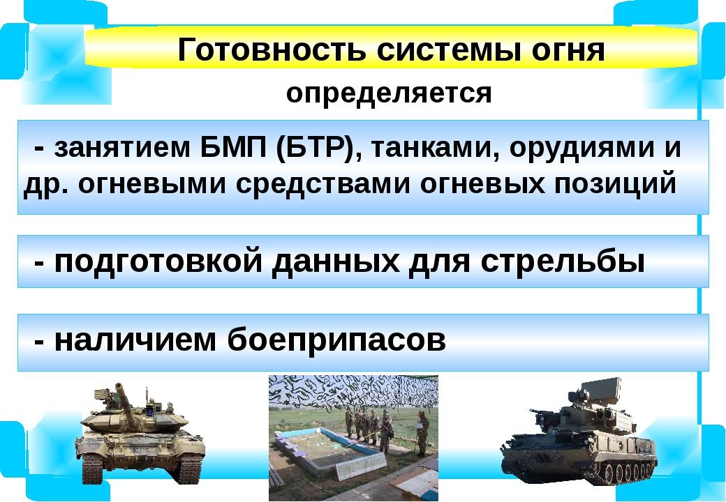 определяется Готовность системы огня - занятием БМП (БТР), танками, орудиями...