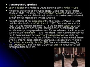 Contemporary opinions John Travolta and Princess Diana dancing at the White H