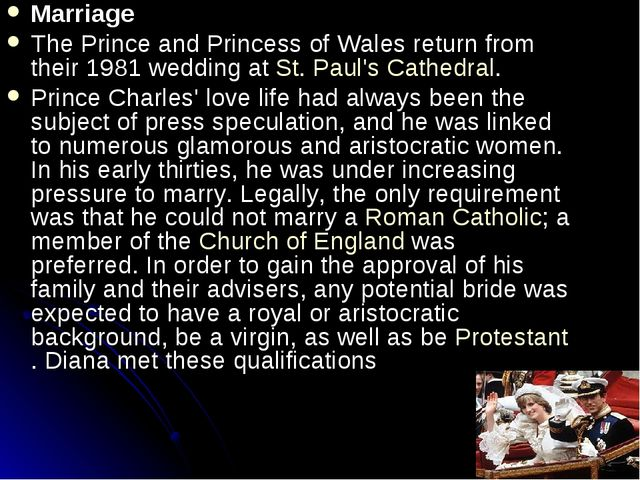 Marriage The Prince and Princess of Wales return from their 1981 wedding at S...
