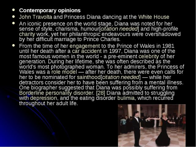 Contemporary opinions John Travolta and Princess Diana dancing at the White H...