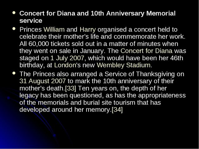 Concert for Diana and 10th Anniversary Memorial service Princes William and H...