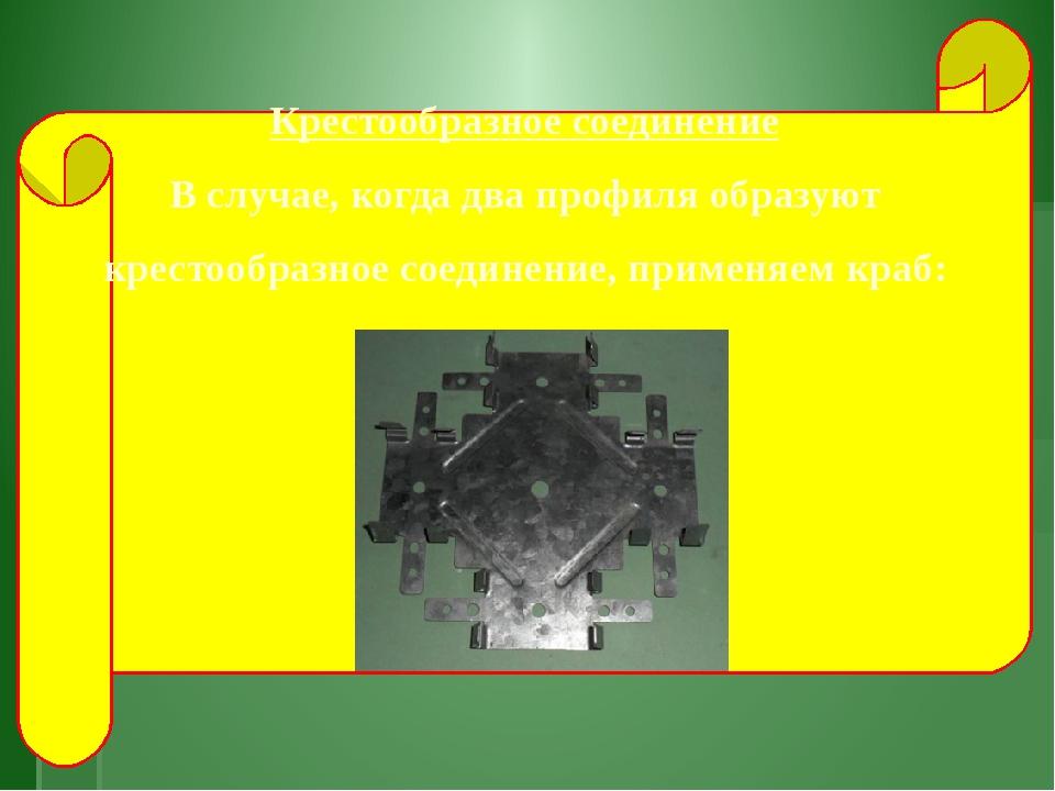 Крестообразное соединение В случае, когда два профиля образуют крестообразно...