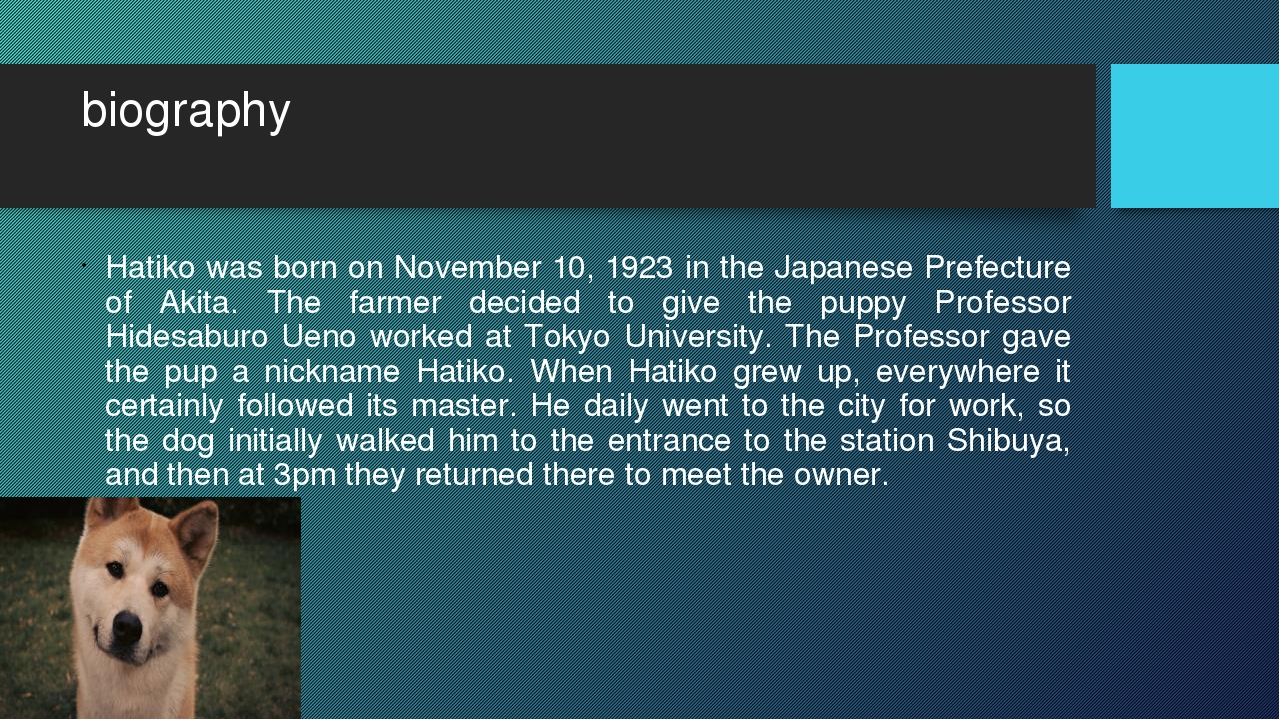biography Hatiko was born on November 10, 1923 in the Japanese Prefecture of...