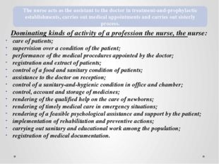 Dominating kinds of activity of a profession the nurse, the nurse: care of pa