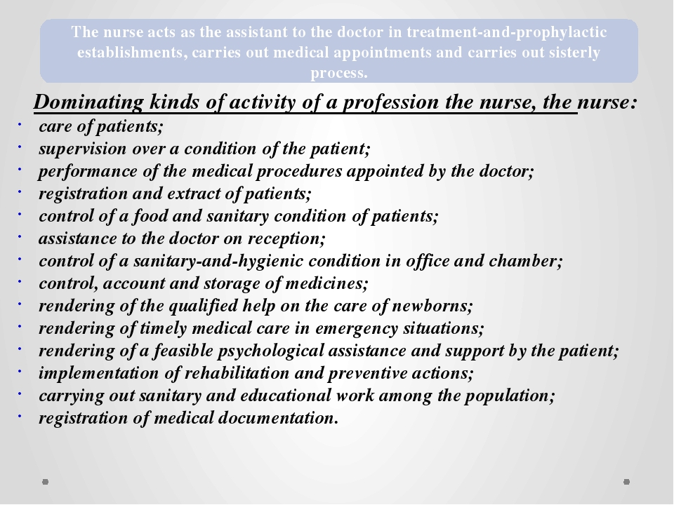 Dominating kinds of activity of a profession the nurse, the nurse: care of pa...