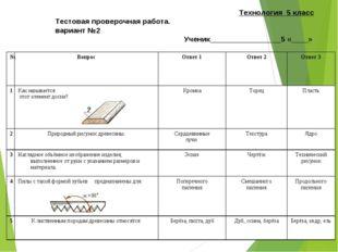 Технология 5 класс Тестовая проверочная работа. вариант №2 Ученик____________
