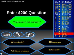 A: Justice DP C: National renaissance B:Conservative D: People's DP 50:50 15
