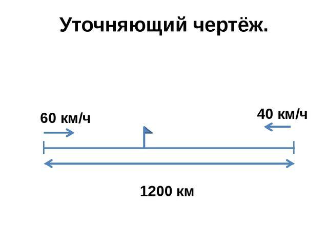 Уточняющий чертёж. 60 км/ч 40 км/ч 1200 км