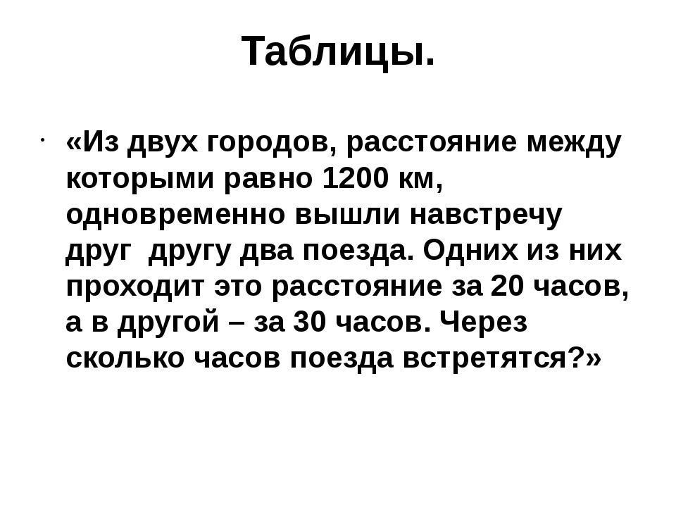 Таблицы. «Из двух городов, расстояние между которыми равно 1200 км, одновреме...