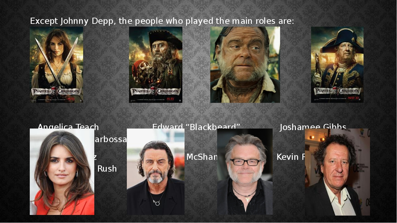 Except Johnny Depp, the people who played the main roles are: Angelica Teach...
