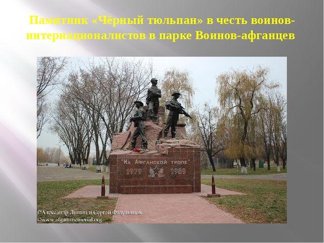 Памятник «Чёрный тюльпан» в честь воинов-интернационалистов в парке Воинов-аф...