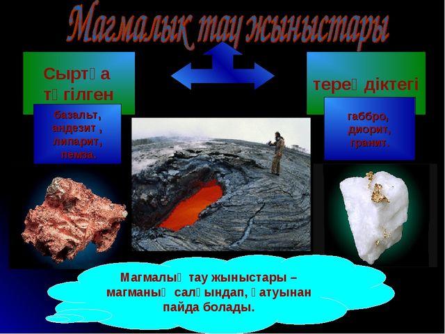 Магмалық тау жыныстары – магманың салқындап, қатуынан пайда болады. Сыртқа тө...