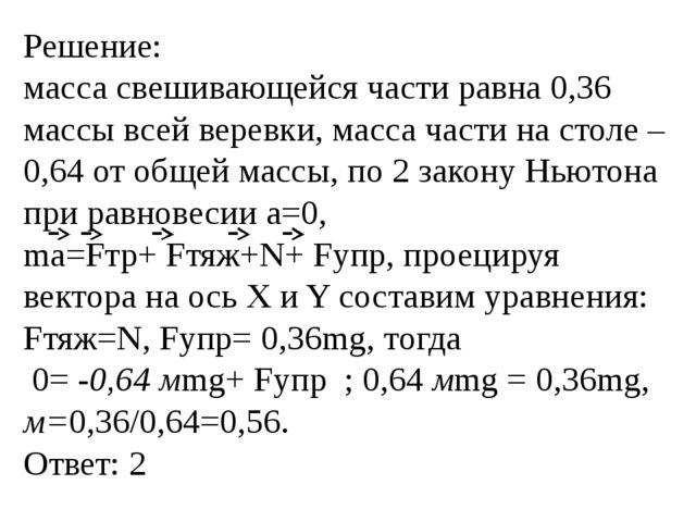 Решение: масса свешивающейся части равна 0,36 массы всей веревки, масса части...