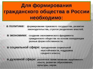 Для формирования гражданского общества в России необходимо: в политике: форми