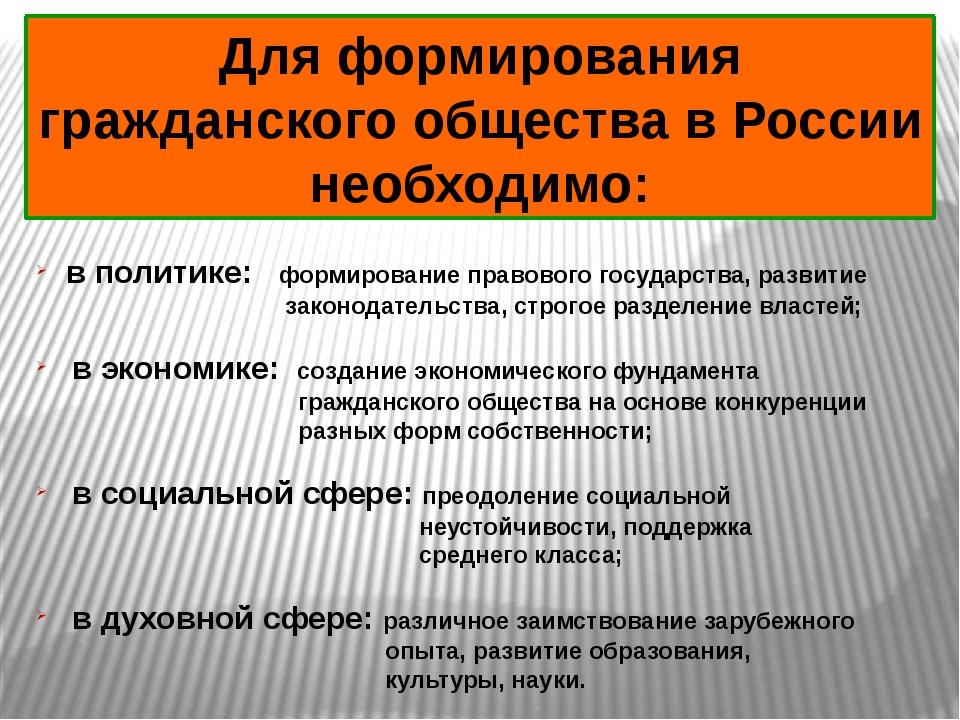 Для формирования гражданского общества в России необходимо: в политике: форми...