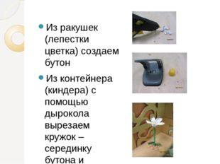 Из ракушек (лепестки цветка) создаем бутон Из контейнера (киндера) с помощью