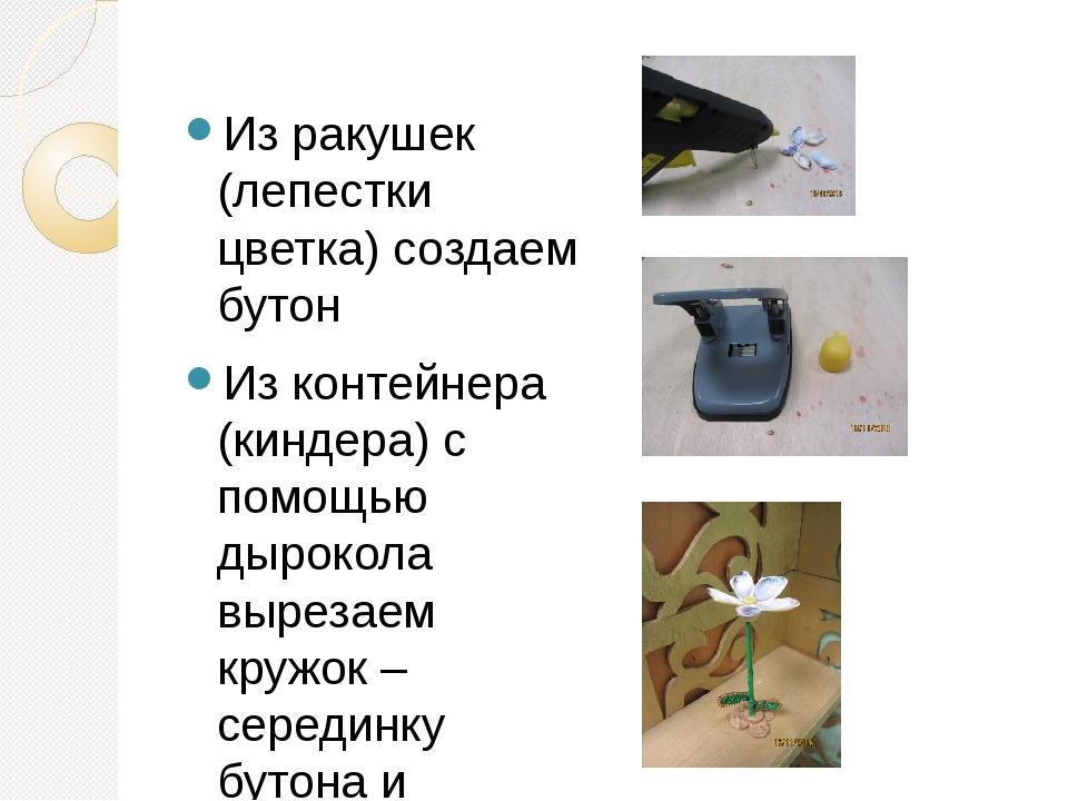 Из ракушек (лепестки цветка) создаем бутон Из контейнера (киндера) с помощью...