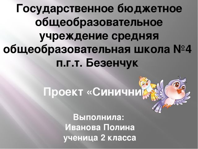 Проект «Синичник» Выполнила: Иванова Полина ученица 2 класса Руководитель: Ми...