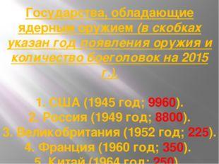 Государства, обладающие ядерным оружием (в скобках указан год появления оружи