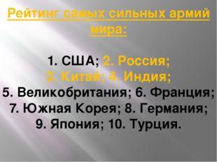Рейтинг самых сильных армий мира: 1. США; 2. Россия; 3. Китай; 4. Индия; 5. В
