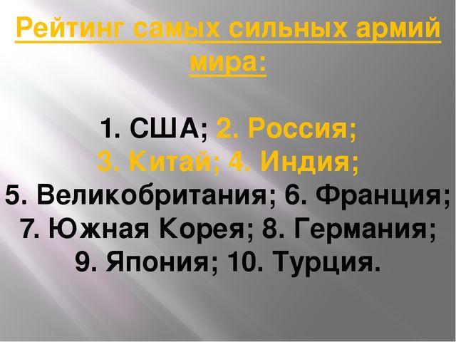 Рейтинг самых сильных армий мира: 1. США; 2. Россия; 3. Китай; 4. Индия; 5. В...