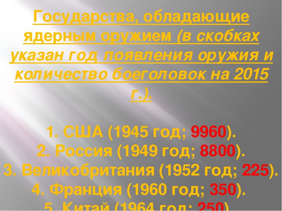 Государства, обладающие ядерным оружием (в скобках указан год появления оружи...