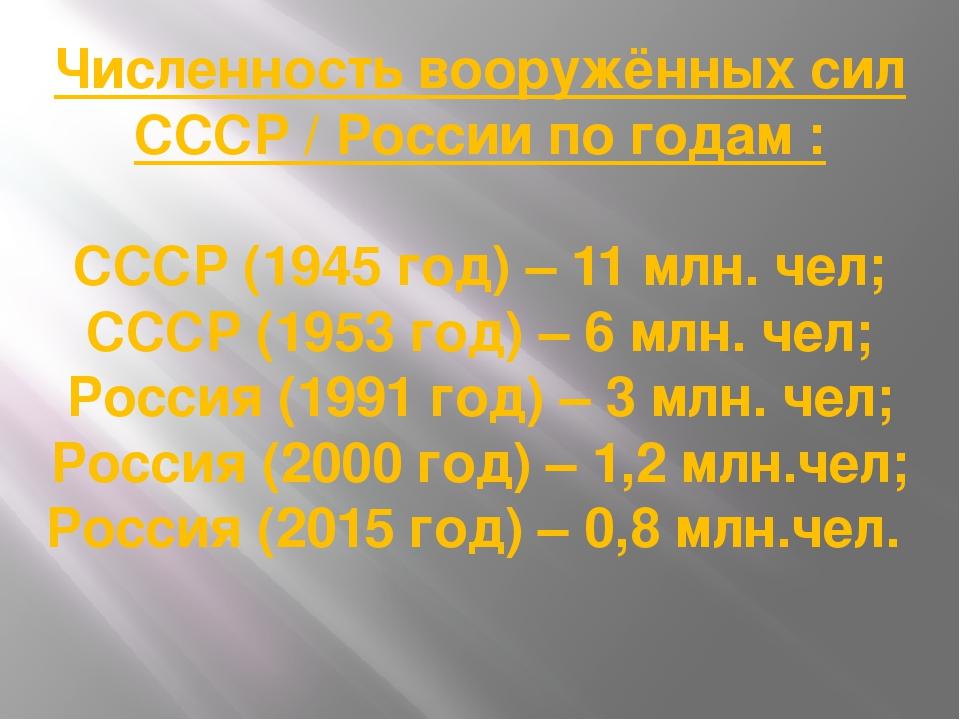 Численность вооружённых сил СССР / России по годам : СССР (1945 год) – 11 млн...