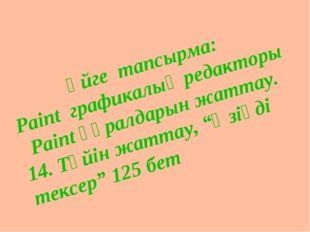 Үйге тапсырма: Paint графикалық редакторы Paint құралдарын жаттау. 14. Түйін