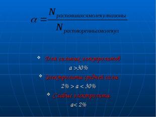 Для сильных электролитов a >30% Электролиты средней силы 2% > a < 30% Слабые