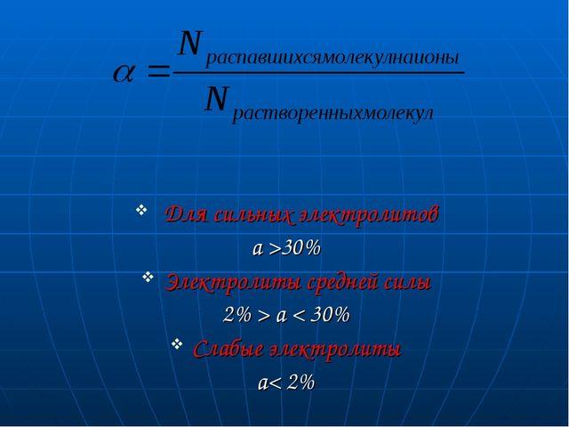 Для сильных электролитов a >30% Электролиты средней силы 2% > a < 30% Слабые...