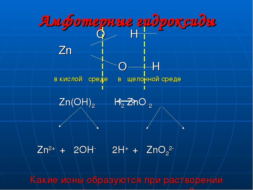 Амфотерные гидроксиды O H Zn O H в кислой среде в щелочной среде Zn(OH)2 H2 Z...