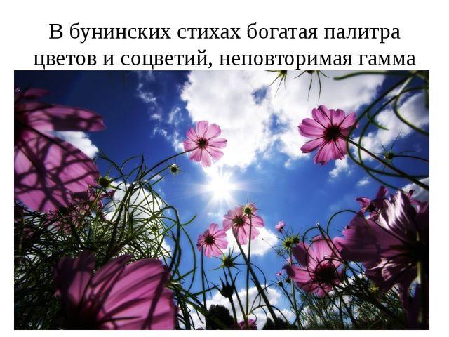 В бунинских стихах богатая палитра цветов и соцветий, неповторимая гамма звук...
