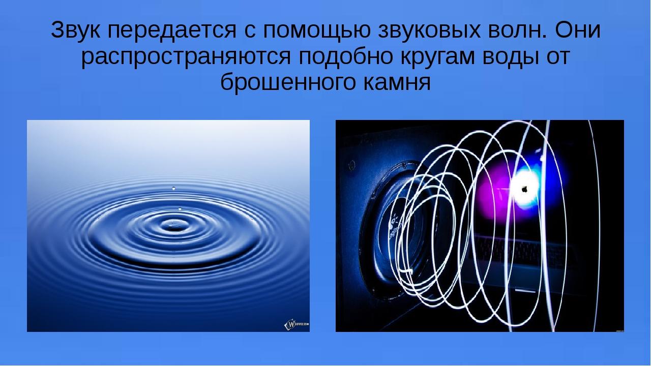 Звук передается с помощью звуковых волн. Они распространяются подобно кругам...