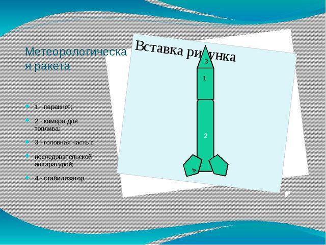 Метеорологическая ракета 1 - парашют; 2 - камера для топлива; 3 - головная ча...