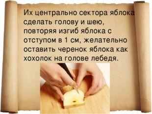 Их центрально сектора яблока сделать голову и шею, повторяя изгиб яблока с от