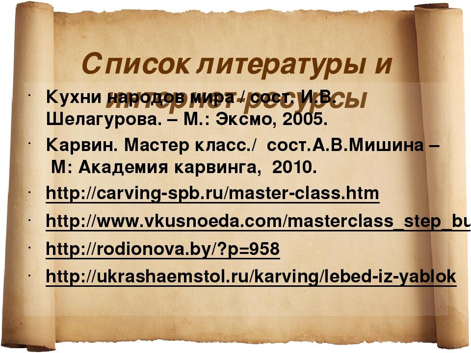 Список литературы и интернет-ресурсы Кухни народов мира / сост. И.В. Шелагур...
