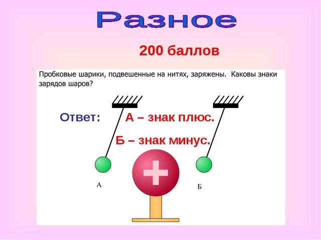 200 баллов Ответ: А – знак плюс. Б – знак минус.