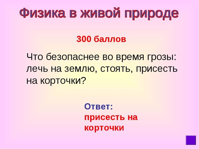 300 баллов Что безопаснее во время грозы: лечь на землю, стоять, присесть на...