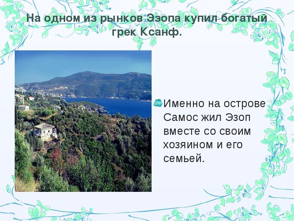 На одном из рынков Эзопа купил богатый грек Ксанф. Именно на острове Самос жи...
